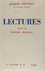J.Bainville.Lectures. Edt Fayard, 1937
