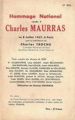 Hommage national rendu à Charles Maurras. Edt Front National, 1937